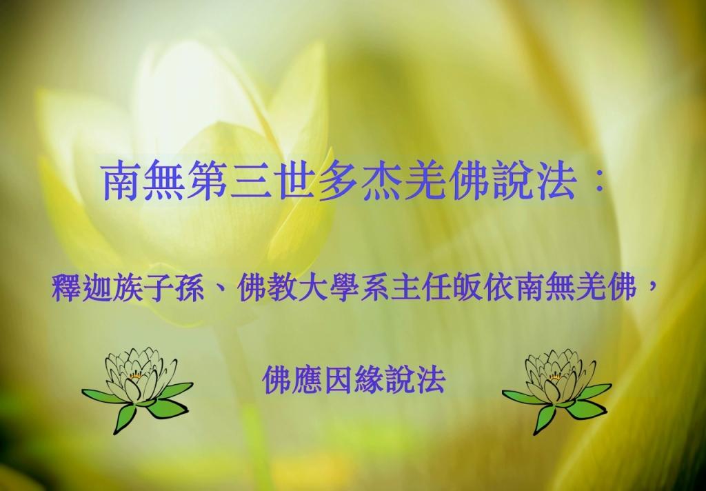 釋迦族子孫、佛教大學系主任皈依南無羌佛, 佛應因緣說法
